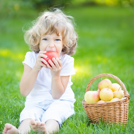 Happy child sitting on green grass and eating apple in spring park  Healthy lifestyle concept photo