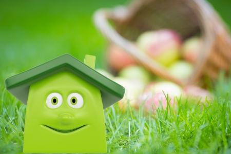 eco building: Eco cartoon house on green grass against basket of apples  Ecology concept Stock Photo