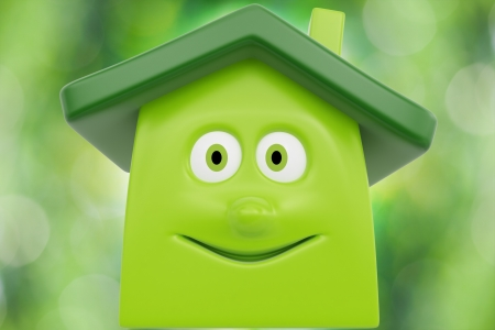 house energy: Eco cartoon house against spring green background  Ecology concept