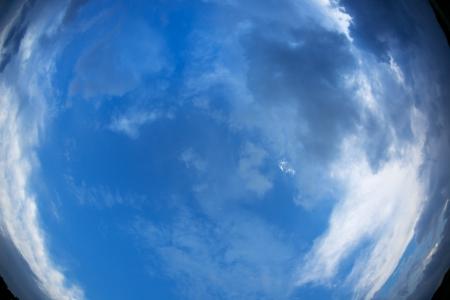 Blue sky and clouds background. Fisheye shot photo