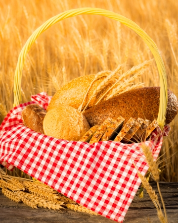 harvest: Homemade bread and wheat on the wooden table in autumn field