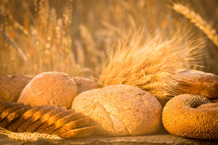 Bread and wheat on the wooden table in autumn field photo