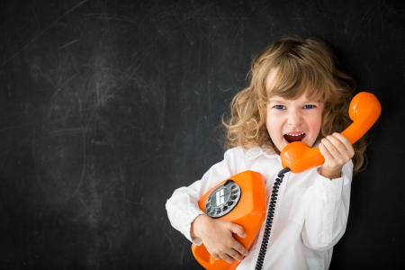 calling: Aggressive kid calling by vintage phone