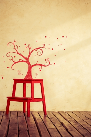 Hand drawn tree and flowers in grunge room Stock Photo - 23431546