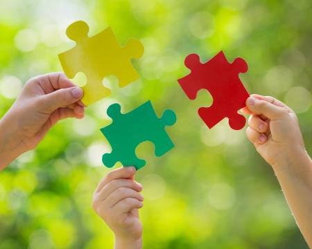 entreprise puzzle: Travail d'�quipe et partenariat notion