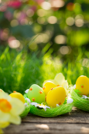Easter eggs on green grass. Spring holidays concept photo