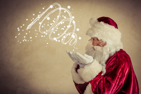 Santa Claus senior man against grunge background photo