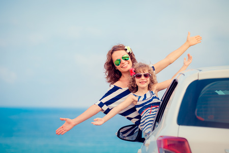holiday trip: Family on vacation. Summer holiday and car travel concept