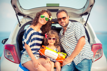 adventure holiday: Family on vacation. Summer holiday and car travel concept