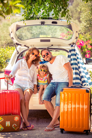 Family going on summer vacation. Car travel concept photo