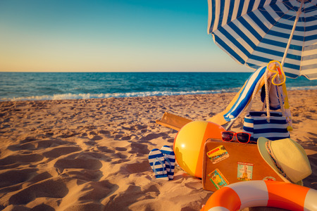 sunbed: Sunbed on the beach. Summer vacation concept