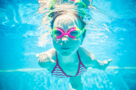Underwater portrait of happy child. Summer vacation Stock fotó