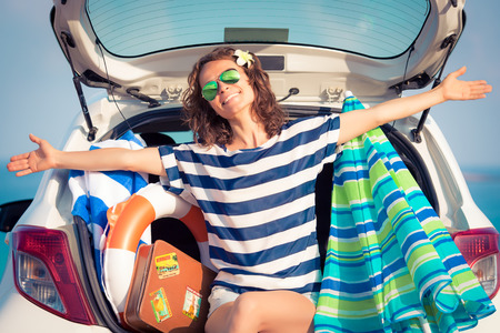 vacation: Woman on vacation. Summer holiday and car travel concept