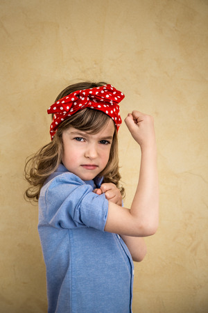 fit girl: We can do it. Symbol of girl power and feminism concept Stock Photo