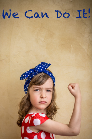 We can do it. Symbol of girl power and feminism concept Foto de archivo