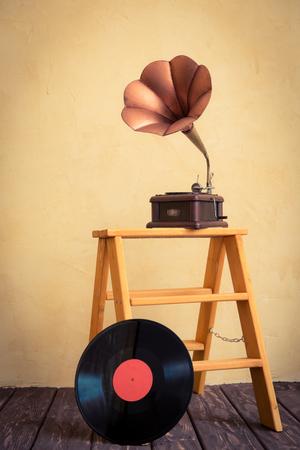 record: Vintage gramophone. Retro music concept