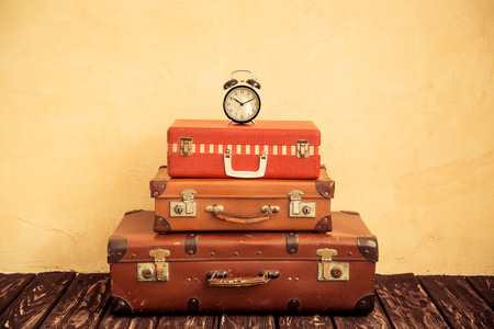 vintage travel: Vintage classic brown leather suitcase. Travel concept