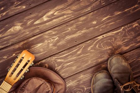 gitara: Retro tło muzyczne z miejsca na kopię