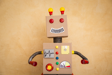 innovation concept: Funny toy robot. Innovation technology and creative concept