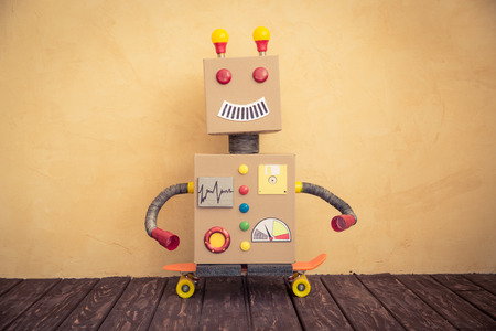 Funny toy robot. Innovation technology and creative concept Stok Fotoğraf - 46594375
