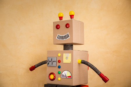 funny robot: Funny toy robot. Innovation technology and creative concept