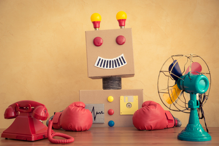 creative concept: Funny toy robot. Innovation technology and creative concept