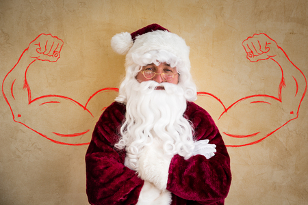 Strong Santa Claus senior man. Christmas holiday concept Stockfoto