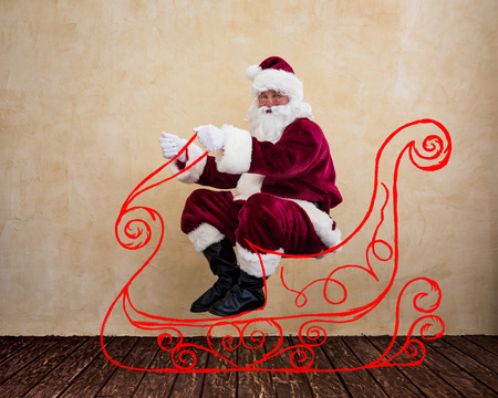 miracle: Santa Claus drive in imaginary sleigh. Christmas miracle concept