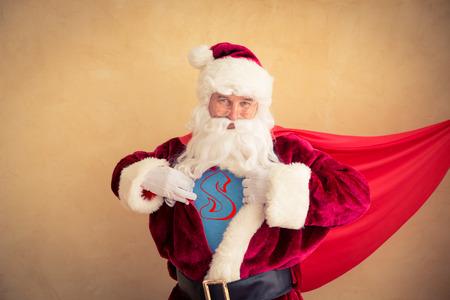 super powers: Santa Claus superhero. Christmas holiday concept