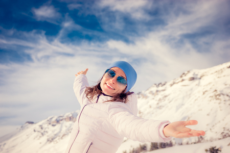 enjoy space: Freedom concept winter holiday vacation mountain woman
