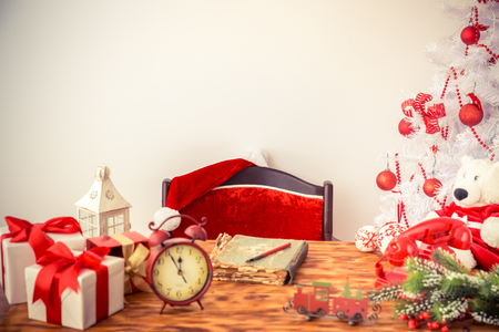wall decoration: Christmas decorations on table. Xmas holiday concept Stock Photo