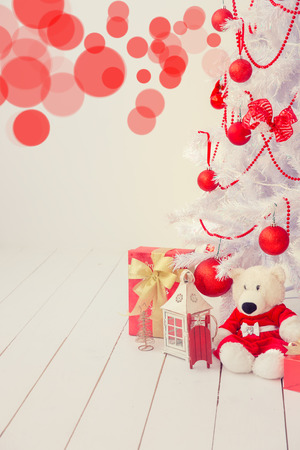 christmas lights background: Christmas tree with decorations. Xmas holiday concept