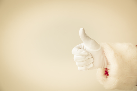 thumbs up: Santa Claus showing thumbs up. Christmas holiday concept Stock Photo