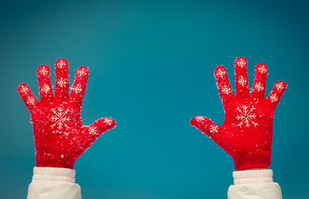 snow  snowy: Winter People Hands Red Gloves Snow Snowy Blue Sky Background