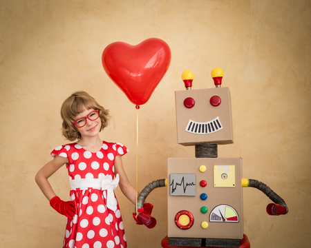 nerd girl: Funny nerds couple. Valentines day concept Stock Photo