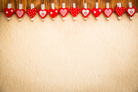 valentines background: Valentines day ornament on wood background. Winter holiday concept