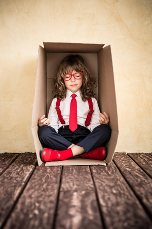 girl home: Portrait of young businessman in office. Success, creative and innovation concept