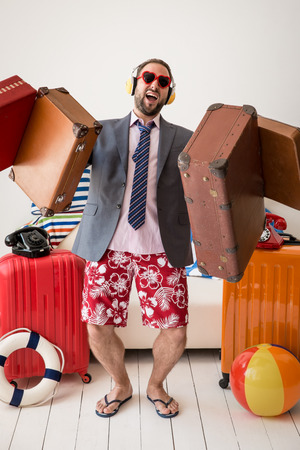 vacation summer: Funny businessman ready for a summer vacation. Man having fun at home Stock Photo