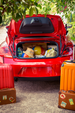 yellow car: Summer vacation and travel concept