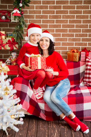 winter holiday: Happy family having fun at home. Christmas Xmas winter holiday concept
