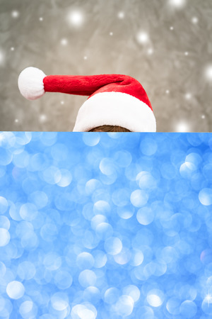 Child holding banner. Kid hiding behind card blank. Christmas Xmas winter holiday concept Stock Photo