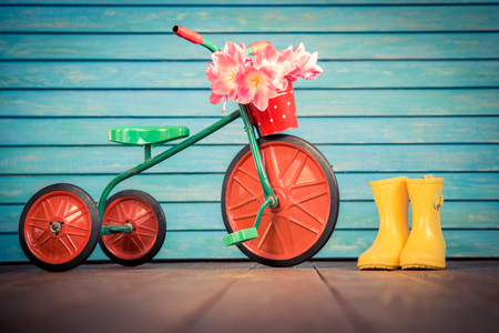 tricycle: Vintage bike with bouquet of tulips against wood background. Womans day. 8 March. Spring holiday concept Stock Photo