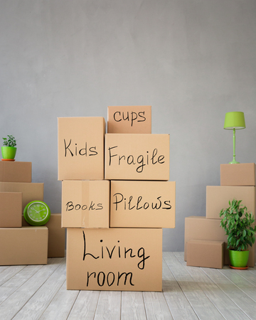 box: New home, moving house day and real estate concept
