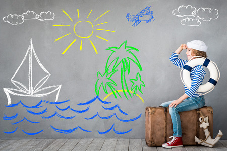 Child pretend to be sailor. Kid having fun at home. Summer vacation and travel concept Stock fotó