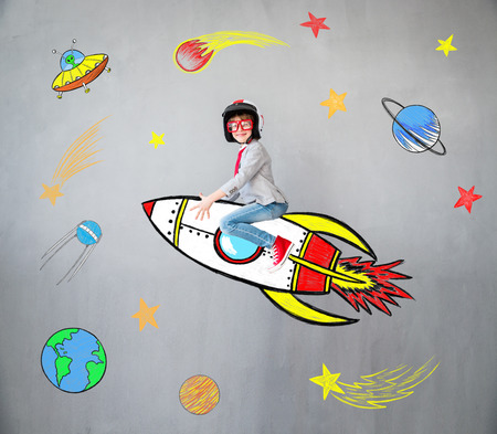 Portrait of young child pretend to be businessman. Kid playing at home. Success, idea, and creative concept. Copy space for your text Banque d'images