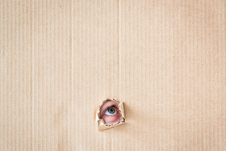 Portrait of surprised child looking through hole of cardboard. Copy space for your text photo