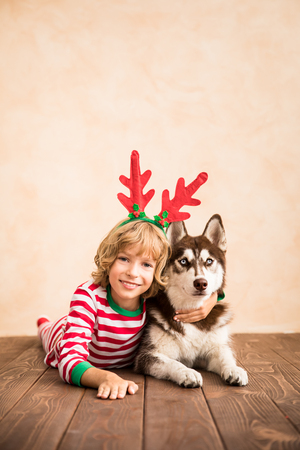 Happy child and dog on Christmas eve. Kid and pet dressed in Santa Claus hat. Girl having fun with husky at home. Chinese calendar new year concept Stockfoto