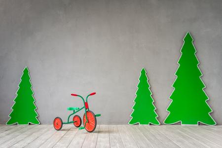 Christmas tree at home. Xmas winter holiday concept
