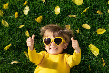 Top view portrait of happy child having fun outdoor in autumn park. Smiling kid lying on green grass against yellow leaves blurred background