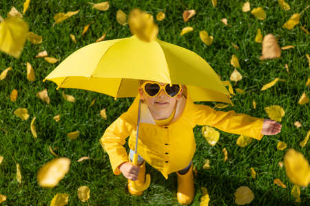 Top view portrait of happy child having fun outdoor in autumn park. Smiling kid with umbrella standing on grass against yellow leaves blurred background